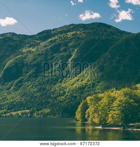 Retro filtered mountain landscape