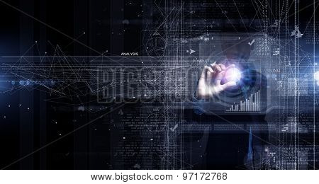 Close up of businessman pushing icon on media screen