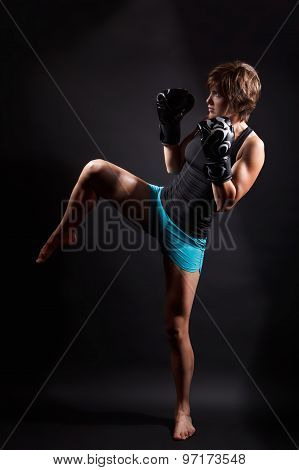 Fit Woman Doing Kickbox