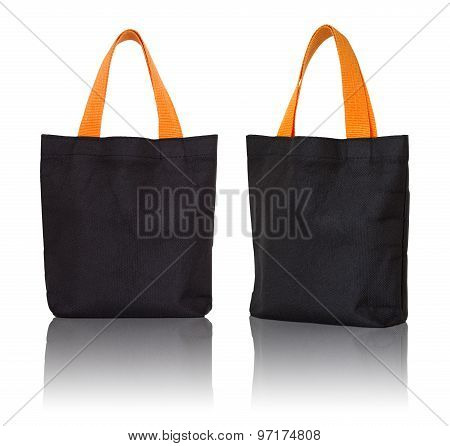 Black Fabric Bag On White Background