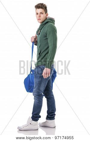 Attractive young man with bag on shoulder strap