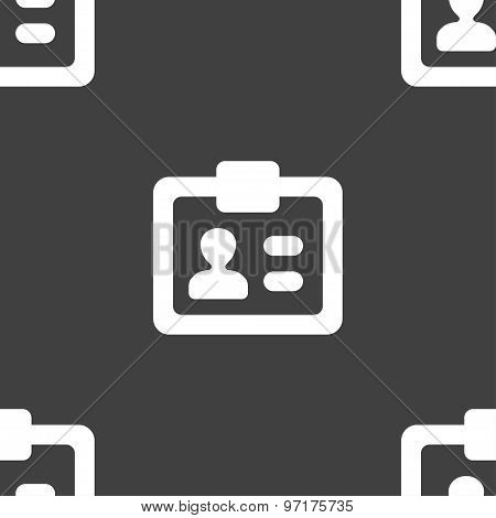 Id,  Identity Card Icon Sign. Seamless Pattern On A Gray Background. Vector