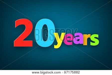 Twenty years paper colorful sign over dark blue. Vector illustration.