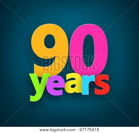 Ninety years paper colorful sign over dark blue. Vector illustration.