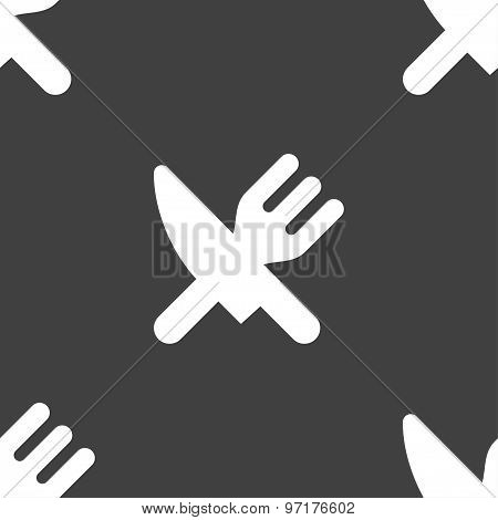 Eat, Cutlery Icon Sign. Seamless Pattern On A Gray Background. Vector