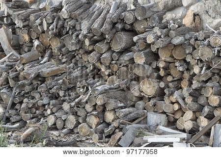 Pile Of Old Firewood, Stored Outside