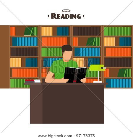 Reading books concept