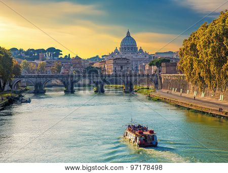 Saint Peters Basilica View, Roma,  Italy.