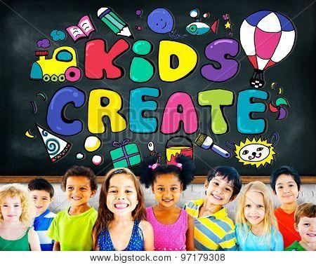 Kids Create Design Ideas Colorful Concept
