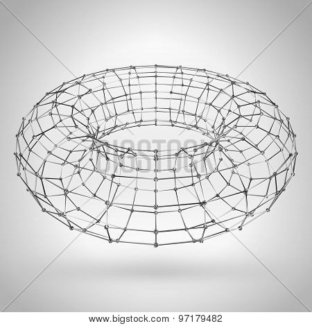 Wireframe Polygonal Element. 3D Torus With Lines And Diamonds