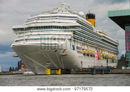 Cruise Ship Costa Fortuna Stands In The Passenger Terminal Of Amsterdam