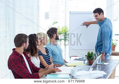 Casual businessman giving a presentation to his colleagues