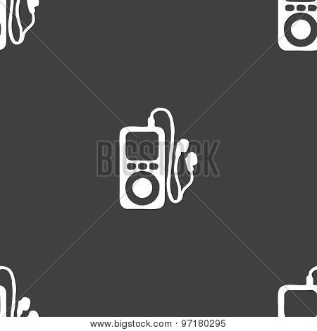Mp3 Player, Headphones, Music Icon Sign. Seamless Pattern On A Gray Background. Vector