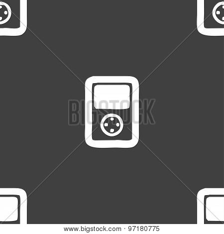 Video Game Console Icon Sign. Seamless Pattern On A Gray Background. Vector