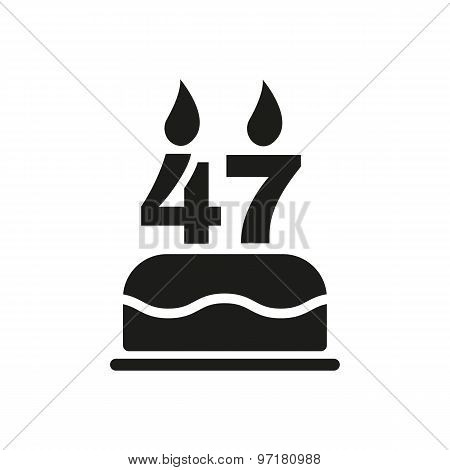 The birthday cake with candles in the form of number 47 icon. Birthday symbol. Flat