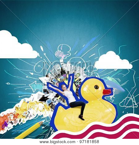 Silly young businesswoman in work break riding on plastic duck