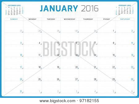 Calendar Planner 2016. Vector Design Template. January. Week Starts Sunday