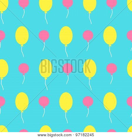 Seamless Vector Pattern With Colorful Baloons In The Sky. For Cards, Invitations, Wedding Or Baby Sh