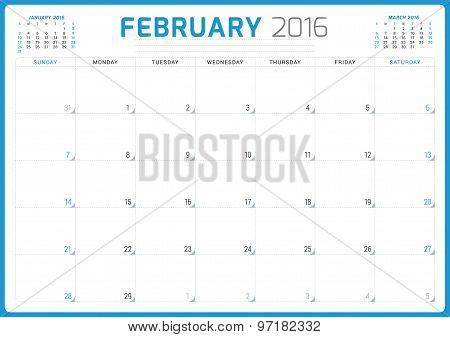 Calendar Planner 2016. Vector Design Template. February. Week Starts Sunday