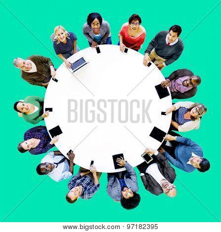 Diverse People Friends Digital Device Technology Concept