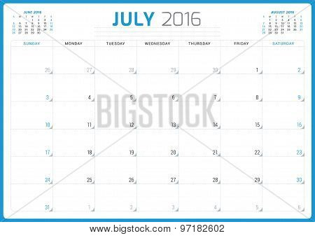 Calendar Planner 2016. Vector Design Template. July. Week Starts Sunday