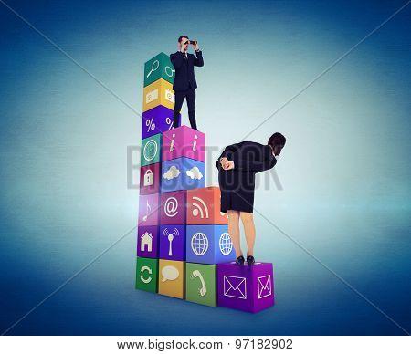 Elegant businessman standing and using binoculars against blue vignette background