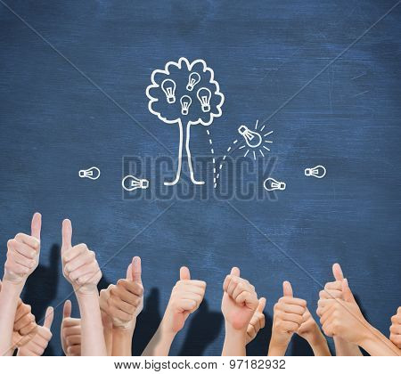 Group of hands giving thumbs up against blue chalkboard