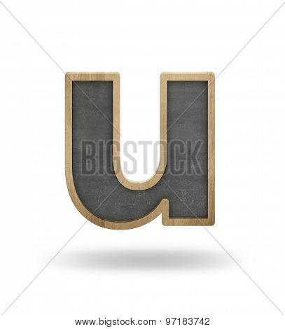 Black blank letter u shape blackboard