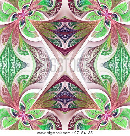 Symmetrical Flower Pattern In Stained-glass Window Style.