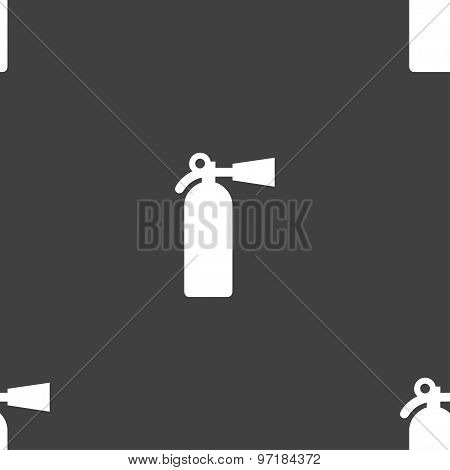 Fire Extinguisher Icon Sign. Seamless Pattern On A Gray Background. Vector