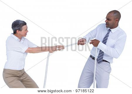 Business people pulling the rope on white background