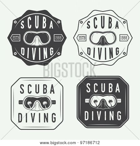Set Of Diving Logos, Labels And Slogans In Vintage Style.