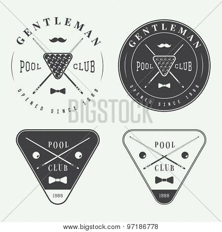 Set Of Vintage Billiard Labels, Emblems And Logo