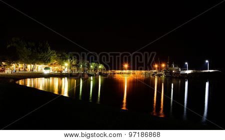 Night Time View On Marina Blato, Zivogosce, Croatia
