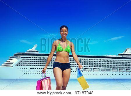 Woman Bikini Shopping Bags Beach Summer Concept