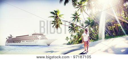 Couple Beach Bonding Romance Holiday Concept