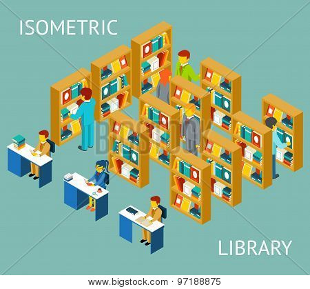 Library in isometric flat style. People among bookshelves