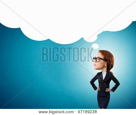 Funny young businesswoman with big head wearing glasses