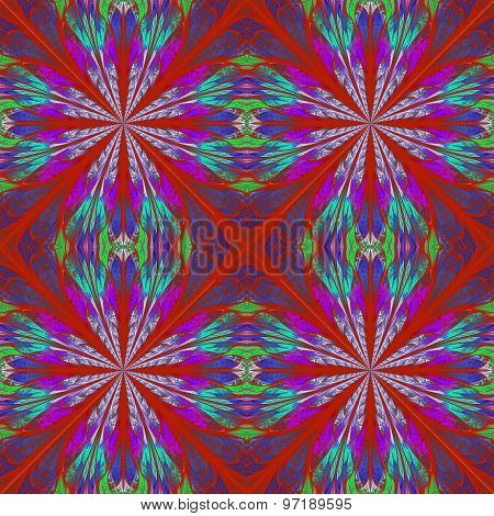 Symmetrical Pattern In Stained-glass Window Style.