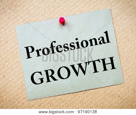 Professional Growth Message Written On Paper Note