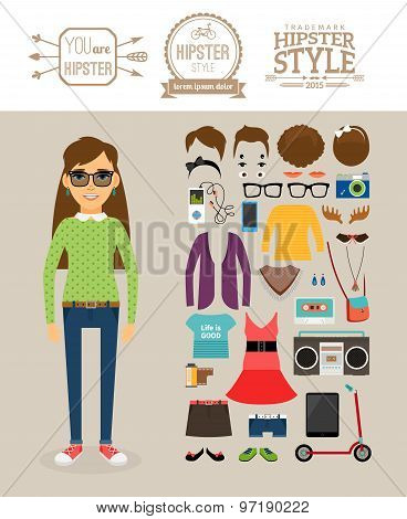Hipster girl elements. Clothes, hairstyles and logos