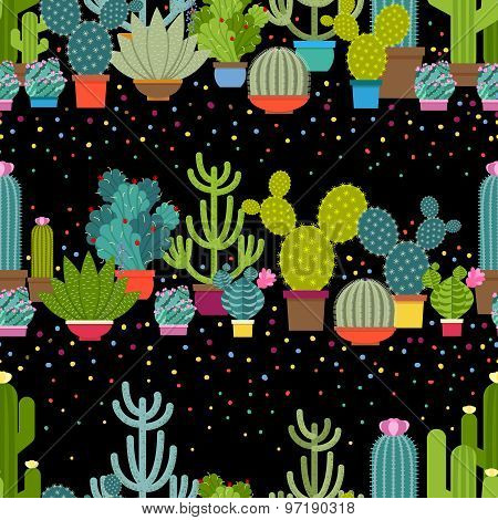 Horizontal patterns of cactus in flat style