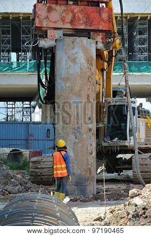 Bore pile steel casing installed at the construction site