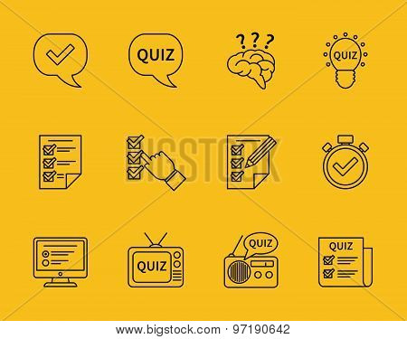 Set of vector line quiz icons