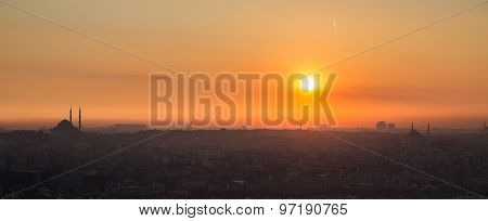Istanbul mosque at sunset, high contrast profile, panoramic view