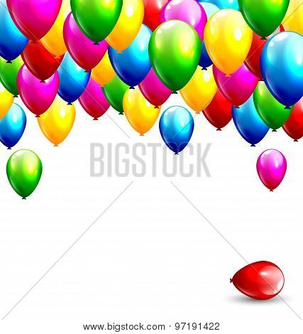Multicolored Inflatable Balloons Isolated On White