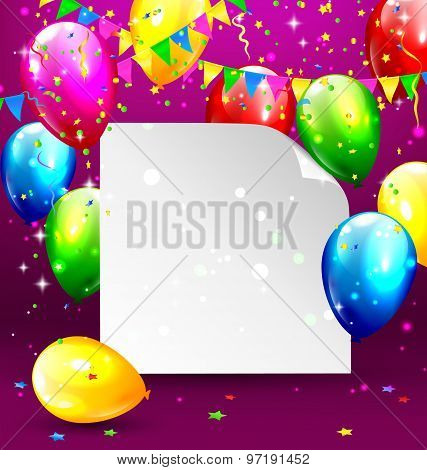 Multicolored Inflatable Balloons With Paper Frame Buntings And Confetti On Violet