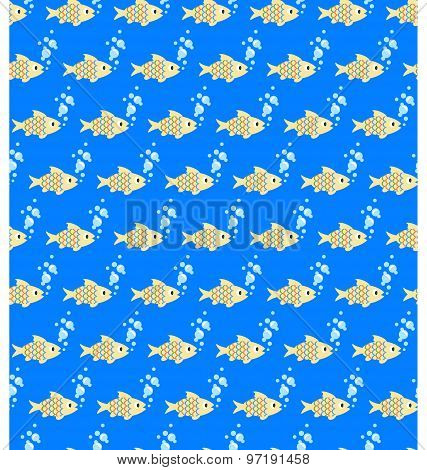 Seamless Sea Pattern. Yellow Fish And Light Blue Bubbles On Blue