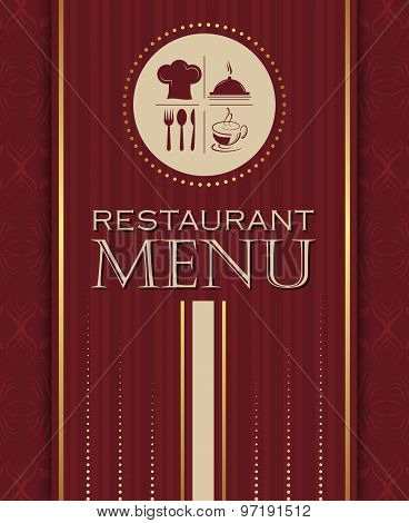 Restaurant menu design cover template in retro style vector illustration