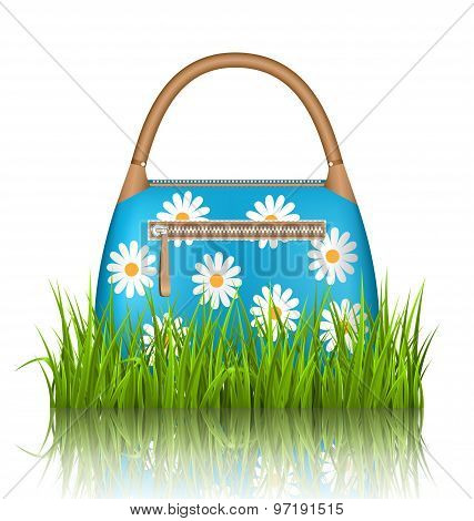 Blue Woman Spring Bag With Chamomiles Flowers In Grass Lawn With Reflection On White
